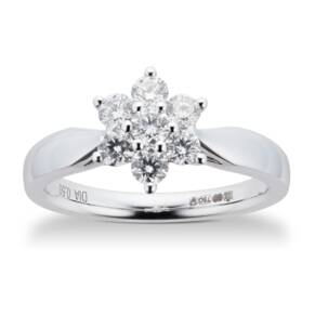 Brilliant Cut 0.50ct Total Weight Diamond Cluster Ring In ...