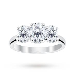 Platinum 1.50 Carat Diamond Three Stone Oval Ring