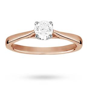 Solitaire Brilliant Cut 0.40 Carat Diamond Ring Set In 18 ...