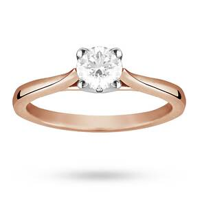 Solitaire Brilliant Cut 0.50 Carat Diamond Ring Set In 18 ...