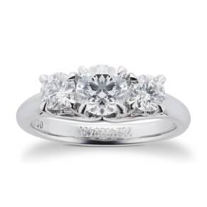 Ena Harkness Three Stone Engagement Ring 0.88 Carat Total Weight
