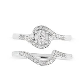 9ct White Gold Illusion 0.33ct Diamond Bridal Set