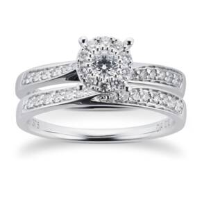 9ct White Gold Multistone Diamond Bridal Set