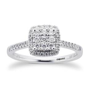 9ct White Gold Diamond Multi Stone Halo Cushion Cut Ring