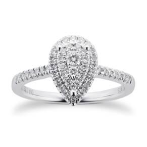 9ct White Gold Diamond Multi Stone Halo Pear Cut Ring