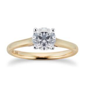 Brilliant Cut 1.00ct 4 Claw Diamond Solitaire Ring In 9ct ...