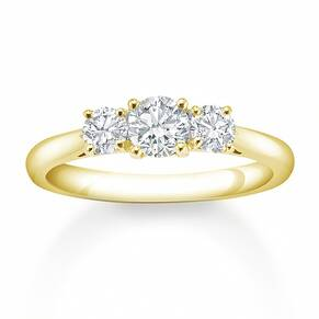 18 Carat Yellow Gold 0.50 Carat 3 Stone Claw Set Engagement Ring