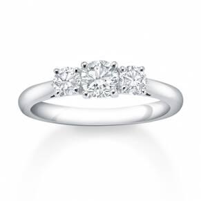 Platinum 0.75 Carat 3 Stone Claw Set Eternity Ring