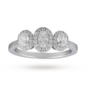 Oval Cut Three Stone 0.85ct Diamond Ring In 18 Carat White Gold