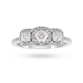 18ct White Gold Halo Cushion Cut Three Stone 1.00ct Diamond Ring - Ring Size K