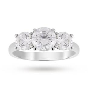 Platinum 1.50ct Diamond Brilliant Cut Three Stone D Colour Ring - Ring Size K