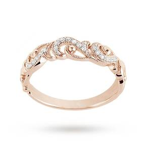 Brilliant Cut 0.10ct Total Weight Diamond Ring In 9ct Rose Gold - Ring Size K