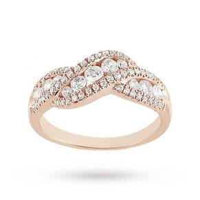 Brilliant Cut 0.75ct Total Weight Diamond Ring In 9ct Rose Gold - Ring Size K
