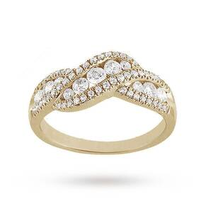 Brilliant Cut 0.75ct Total Weight Diamond Ring In 9ct Yellow Gold