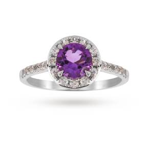 9ct White Gold 6x6mm Amethyst And 0.46ct Diamond Round Halo Ring - Ring Size K