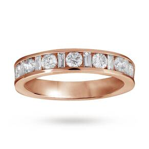 Baguette and brilliant cut 1.00 carat total weight diamon ...