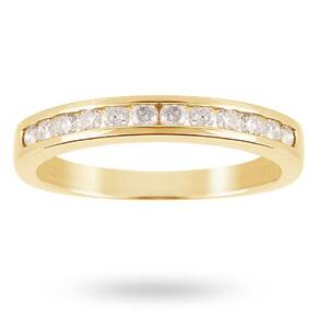 Brilliant Cut 0.50ct Channel Set Half Eternity Ring In 9c ...