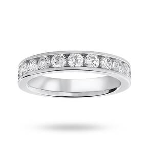 9 Carat White Gold 1.00 Carat Brilliant Cut Half Eternity Ring