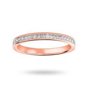 18 Carat Rose Gold 0.33 Carat Princess Cut Half Eternity Ring