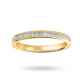 9 Carat Yellow Gold 0.33 Carat Princess Cut Half Eternity Ring