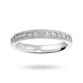 9 Carat White Gold 0.75 Carat Princess Cut Half Eternity Ring