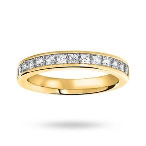 18 Carat Yellow Gold 1.00 Carat Princess Cut Half Eternity Ring