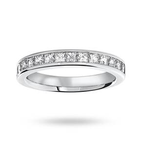 9 Carat White Gold 1.00 Carat Princess Cut Half Eternity Ring