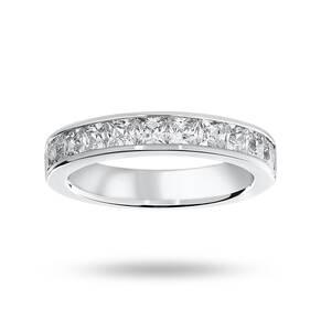 18 Carat White Gold 1.50 Carat Princess Cut Half Eternity Ring