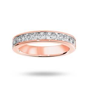 9 Carat Rose Gold 1.50 Carat Princess Cut Half Eternity Ring