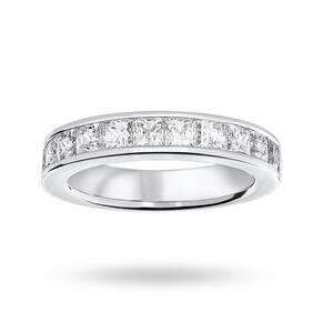 9 Carat White Gold 2.00 Carat Princess Cut Half Eternity Ring