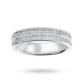 Platinum 0.75 Carat Princess Cut 2 Row Half Eternity Ring