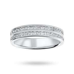 9 Carat White Gold 0.75 Carat Princess Cut 2 Row Half Eternity Ring