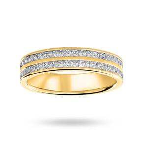 9 Carat Yellow Gold 0.75 Carat Princess Cut 2 Row Half Eternity Ring