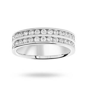 Platinum 0.75 Carat Brilliant Cut 2 Row Half Eternity Ring