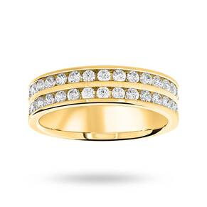 18 Carat Yellow Gold 0.75 Carat Brilliant Cut 2 Row Half Eternity Ring