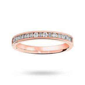 9 Carat Rose Gold 0.25 Carat Dot Dash Half Eternity Ring