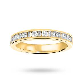 18 Carat Yellow Gold 0.50 Carat Dot Dash Half Eternity Ring