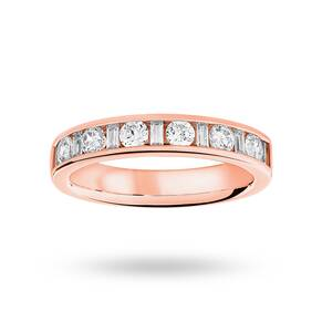 18 Carat Rose Gold 0.75 Carat Dot Dash Half Eternity Ring