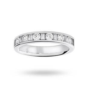 9 Carat White Gold 0.75 Carat Dot Dash Half Eternity Ring