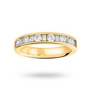 9 Carat Yellow Gold 0.75 Carat Dot Dash Half Eternity Ring