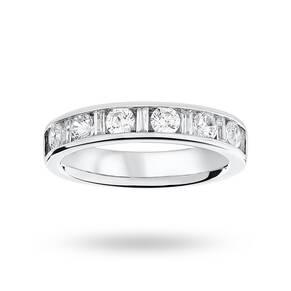 18 Carat White Gold 1.00 Carat Dot Dash Half Eternity Ring