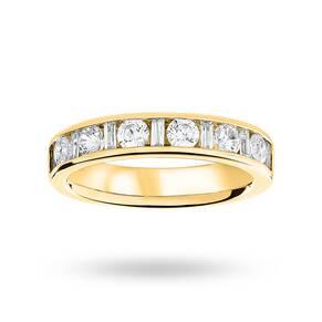 9 Carat Yellow Gold 1.00 Carat Dot Dash Half Eternity Ring