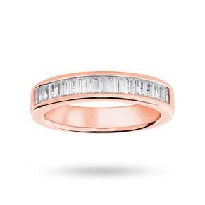9 Carat Rose Gold 0.75 Carat Baguette Cut Half Eternity Ring
