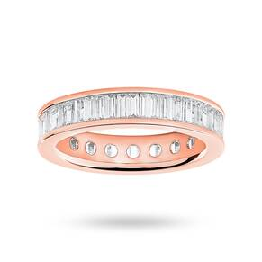 9 Carat Rose Gold 2.00 Carat Baguette Cut Full Eternity Ring