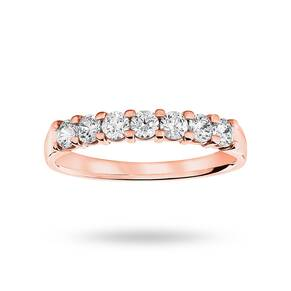 18 Carat Rose Gold 0.50 Carat Brilliant Cut Under Bezel Half Eternity Ring