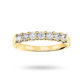 18 Carat Yellow Gold 0.50 Carat Brilliant Cut Under Bezel Half Eternity Ring