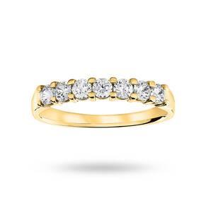 9 Carat Yellow Gold 0.50 Carat Brilliant Cut Under Bezel Half Eternity Ring