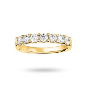 18 Carat Yellow Gold 0.75 Carat Brilliant Cut Under Bezel Half Eternity Ring