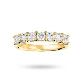 18 Carat Yellow Gold 1.00 Carat Brilliant Cut Under Bezel Half Eternity Ring