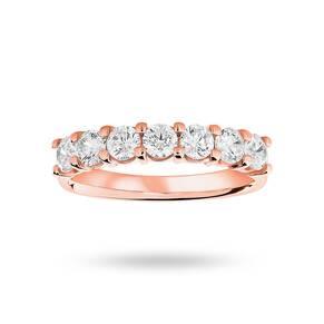 9 Carat Rose Gold 1.00 Carat Brilliant Cut Under Bezel Half Eternity Ring